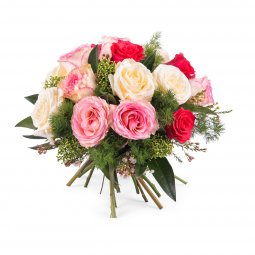 15 Short-stemmed Multicoloured Roses