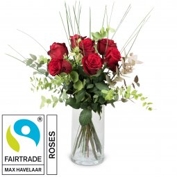 7 Red Fairtrade Max Havelaar-Roses with greenery