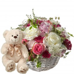 A Basket full of Poetry with Roses and teddy bear