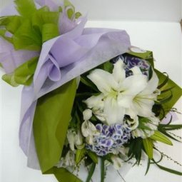 Bouquet of Cut Flowers purple and white