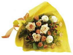 Bouquet of Mixed Cut Flowers in Yellow and Orange