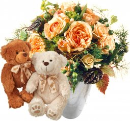 Delicate Rose Bouquet with two teddy bears (white