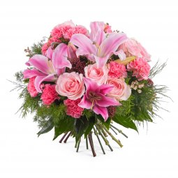Mixed bouquet with roses and lilies