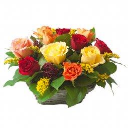Renkli Güllerden Aranjman