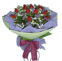Round Hand-Tied Bouquet Of Red Roses  (without vas