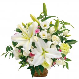 Sympathy arrangement in white with some pastel col